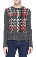 Autumn Cashmere Plaid Ribtrim Cashmere Sweater - Lyst