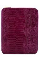 Smythson Mara Croc Embossed Leather A5 Zip Folder - Dark Berry - Lyst