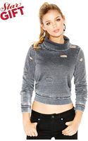 Guess Long-sleeve Cowl-neck Rip-and-tear Cropped Top - Lyst