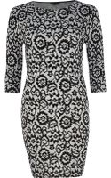 River Island Black Floral Jacquard Bodycon Dress - Lyst