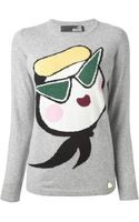 Love Moschino Printed Knit Sweater - Lyst