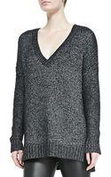 Vince Metallic Vneck Knit Sweater - Lyst