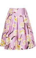 Oscar de la Renta Floralprint Pleated Skirt - Lyst
