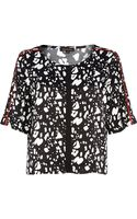 River Island Black Abstract Print Boxy Crop Top - Lyst