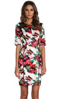 Milly Floral Print Paneled Rawedge Sleeve Dress - Lyst