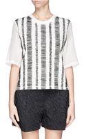 3.1 Phillip Lim Silk Chiffon Sleeve Sketch Stripe Top - Lyst