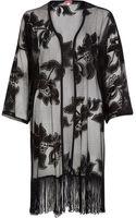 River Island Black Floral Mesh Kimono - Lyst