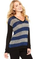 Kensie Longsleeve Vneck Striped Sweater - Lyst