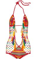 Anna Kosturova Monokini Crocheted Cotton Swimsuit - Lyst