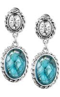 Jones New York Silvertone Crystal and Epoxy Stone Double Drop Earrings - Lyst