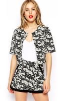 Asos Cropped Jacket in Monochrome Floral - Lyst