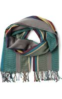Paul Smith Striped Fringed Scarf - Lyst