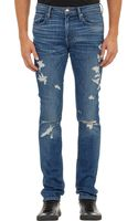 Frame Denim Ripped Slim Jeans - Lyst
