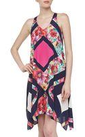 Muse Sleeveless Peaked Floralprint Sateen Dress - Lyst