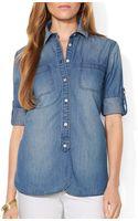 Ralph Lauren Lauren Polka Dot Chambray Shirt - Lyst