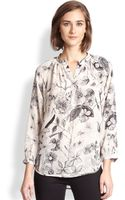 Rebecca Taylor Silk Floral Print Blouse - Lyst