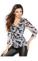 Inc International Concepts V-neck Ruched Printed Top - Lyst