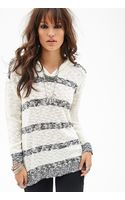 Forever 21 Hooded Striped Sweater - Lyst