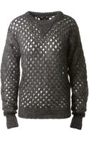 Isabel Marant Grey Wool and Mohair Openwork Thomas Pullover - Lyst