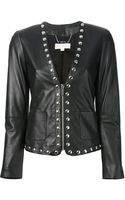 Michael Kors Leather Embellished Jacket - Lyst