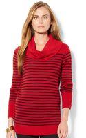 Lauren by Ralph Lauren Striped Wool-blend Cowlneck Sweater - Lyst