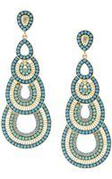 Fragments Beaded Crystal Cascading Chandelier Earrings Blue - Lyst