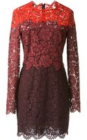 Valentino Red and Burgundy Lace Openwork Dress - Lyst