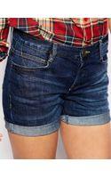 Asos Low Rise Boyfriend Shorts in Dark Washed Indigo - Lyst