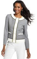 Anne Klein Collarless Tweed Contrasttrim Jacket - Lyst
