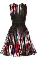 Elie Saab Striped Satin Organza Short Dress - Lyst