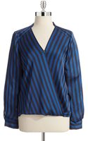 Vince Camuto Striped Wrap Front Blouse - Lyst