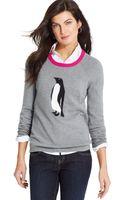 Jones New York Colorblocked-neck Penguin-print Sweater - Lyst