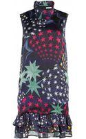 Matthew Williamson 3d Star Print Silk Chiffon Ruffle Hem Dress - Lyst