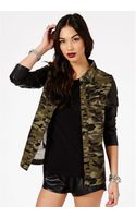 Missguided Mayte Camouflage Faux Leather Sleeves Coat - Lyst