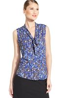 Anne Klein Petite Printed Tiefront Blouse - Lyst