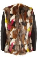River Island Multi Faux Fur Leather-look Sleeve Jacket - Lyst