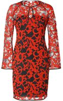Diane von Furstenberg Lace Gadie Dress in Electric Crimsonblack - Lyst