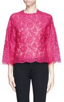 Valentino Sheer Floral Lace Top - Lyst