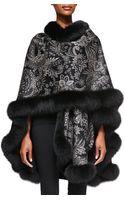 Sofia Cashmere Cashmere Paisley Fur-trim Cape - Lyst