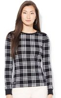 Lauren by Ralph Lauren Lauren Jeans Co Petite Faux-suede-patch Plaid Top - Lyst