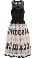 Holly Fulton Embellished Wool and Printed Silk Crepe De Chine Dress - Lyst