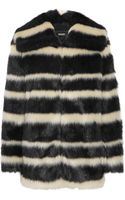 DKNY Striped Faux Fur Coat - Lyst