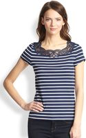 Hanro Laia Lacetrimmed Striped Stretch Cotton Tee - Lyst