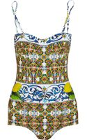 Dolce & Gabbana Printed Swimsuit - Lyst