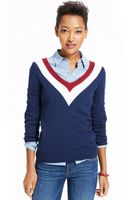 Tommy Hilfiger Colorblocked Vneck Sweater - Lyst