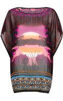 River Island Purple Safari Print Oversized Chiffon Tshirt - Lyst