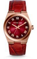 Michael Kors Channing Crocodileembossed Leather Rose Goldtone Stainless Steel Watch - Lyst