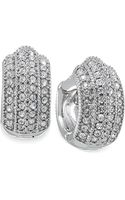 Carolee Silvertone Pave Crystal Hoop Earrings - Lyst