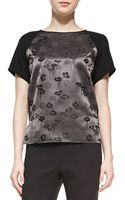 Shamask Floral-Print Solid Short-Sleeve Top - Lyst