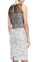 Oscar de la Renta Sleeveless Laceoverlay Tweed Dress - Lyst